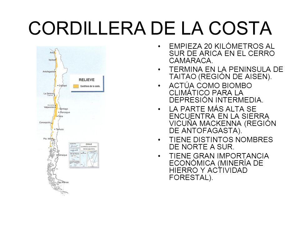 CORDILLERA DE LA COSTA EMPIEZA 20 KILÓMETROS AL SUR DE ARICA EN EL CERRO CAMARACA. TERMINA EN LA PENINSULA DE TAITAO (REGIÓN DE AISEN). ACTÚA COMO BIO