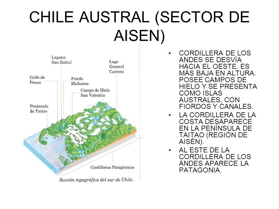 CHILE AUSTRAL (SECTOR DE AISEN) CORDILLERA DE LOS ANDES SE DESVÍA HACIA EL OESTE. ES MÁS BAJA EN ALTURA. POSEE CAMPOS DE HIELO Y SE PRESENTA COMO ISLA
