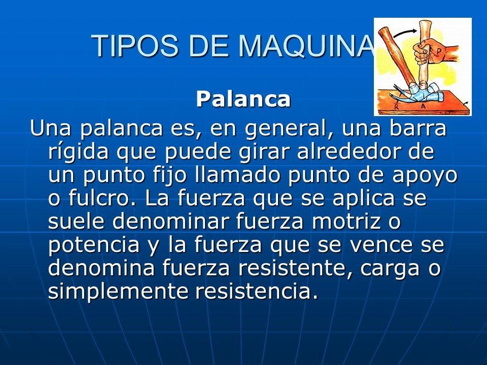 TIPOS DE MAQUINAS Palanca Una palanca es, en general, una barra rígida que puede girar alrededor de un punto fijo llamado punto de apoyo o fulcro.