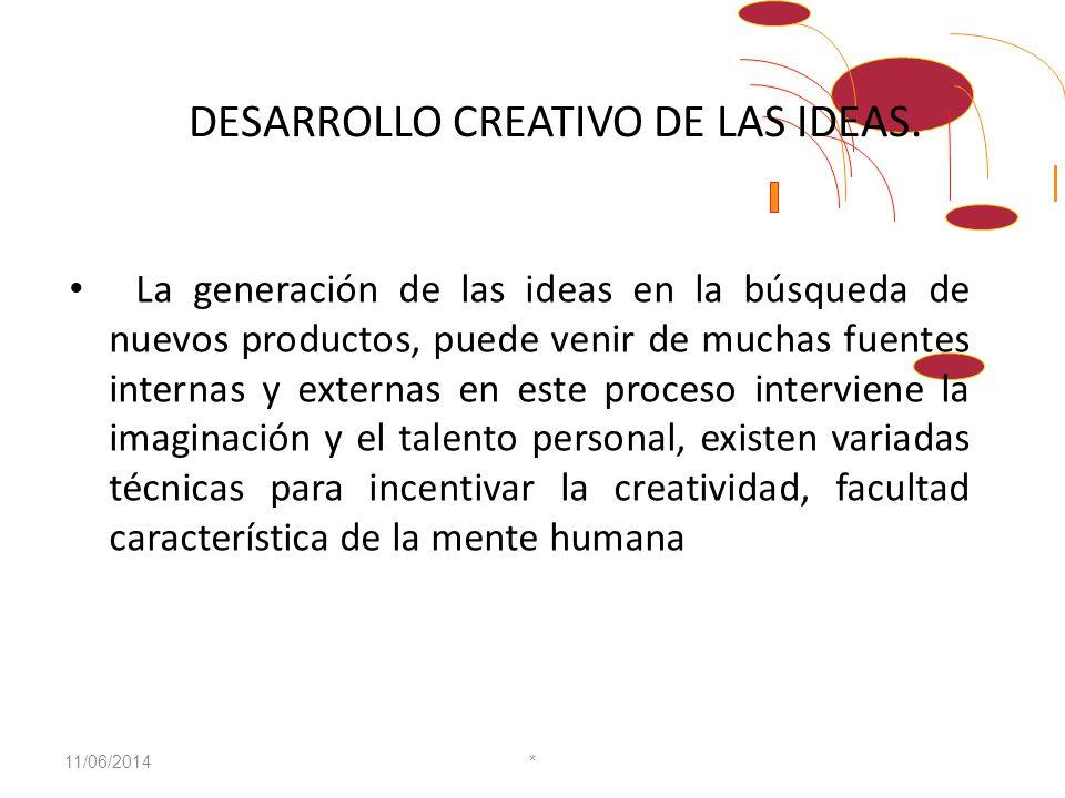 PASOS PARA EL LANZAMIENTO DE NUEVOS PRODUCTOS Y NUEVAS IDEAS Desarrollo creativo de las ideas. Análisis y selección de las ideas. Conceptualización de