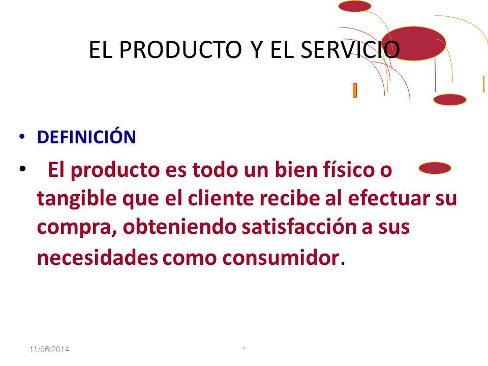 EL PRODUCTO Y EL SERVICIO DEFINICIÓN El producto es todo un bien físico o tangible que el cliente recibe al efectuar su compra, obteniendo satisfacción a sus necesidades como consumidor.