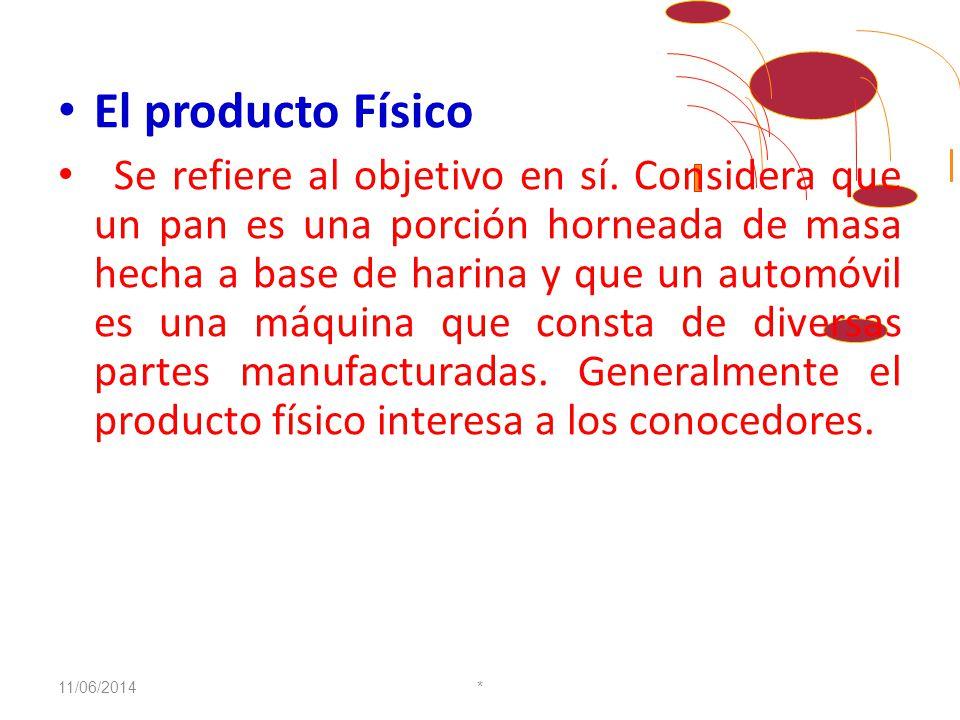 CARACTERÍSTICAS El producto Genérico Se refiere al tipo básico del producto y la función primaria que cumple. Ejm: El pan, es un alimento conocido que