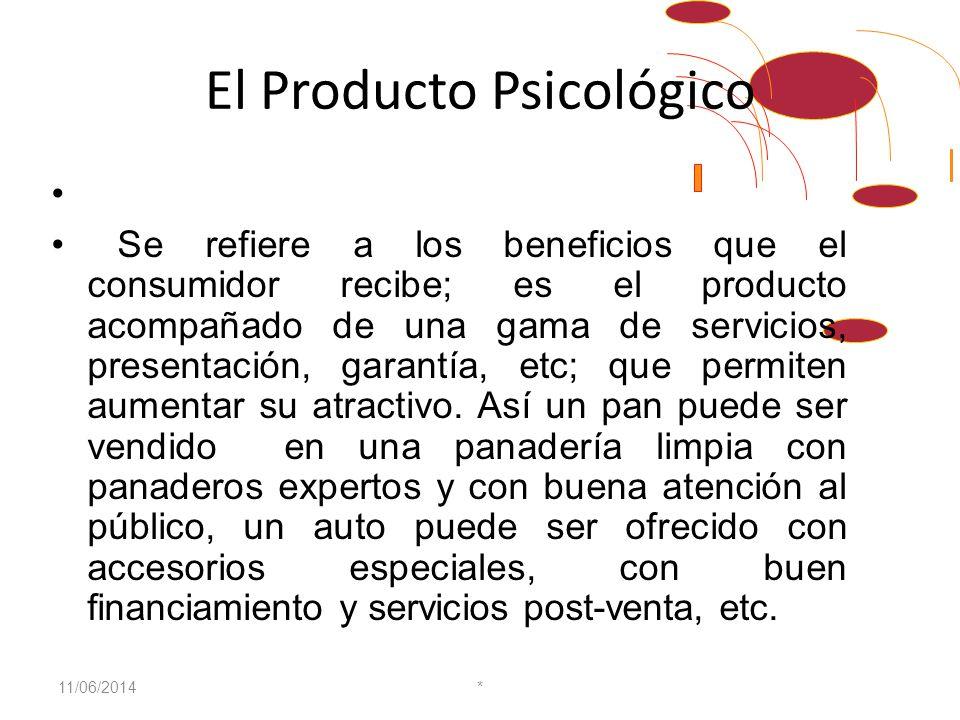 El Producto Psicológico Se refiere a los beneficios que el consumidor recibe; es el producto acompañado de una gama de servicios, presentación, garantía, etc; que permiten aumentar su atractivo.