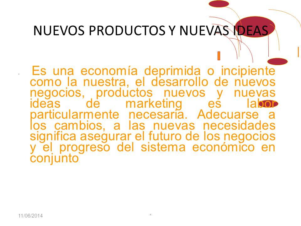 NUEVOS PRODUCTOS Y NUEVAS IDEAS Es una economía deprimida o incipiente como la nuestra, el desarrollo de nuevos negocios, productos nuevos y nuevas ideas de marketing es labor particularmente necesaria.