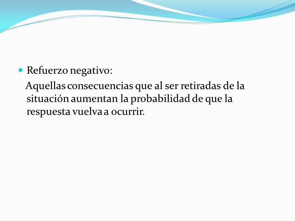 Refuerzo negativo: Aquellas consecuencias que al ser retiradas de la situación aumentan la probabilidad de que la respuesta vuelva a ocurrir.