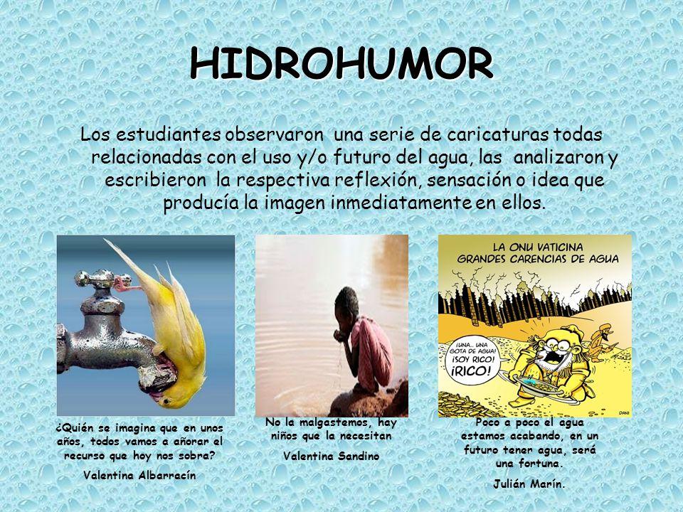 HIDROHUMOR Los estudiantes observaron una serie de caricaturas todas relacionadas con el uso y/o futuro del agua, las analizaron y escribieron la resp