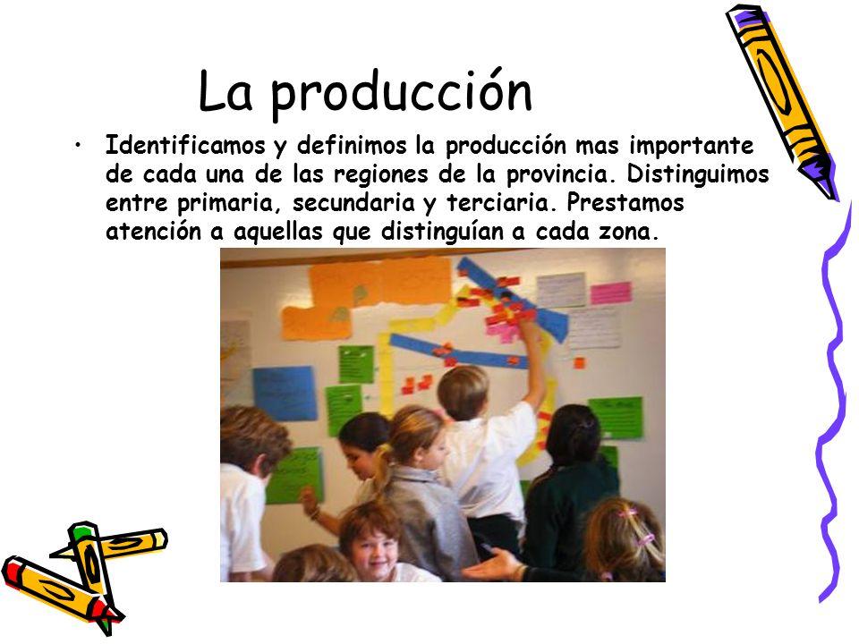 La producción Identificamos y definimos la producción mas importante de cada una de las regiones de la provincia. Distinguimos entre primaria, secunda