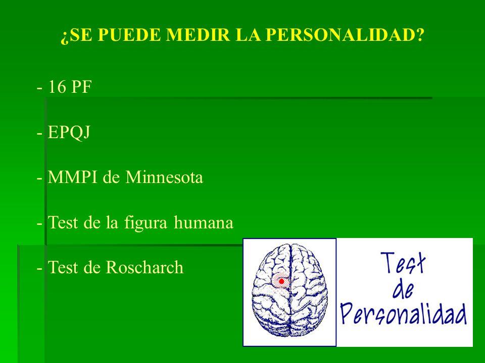 ¿SE PUEDE MEDIR LA PERSONALIDAD? - 16 PF - EPQJ - MMPI de Minnesota - Test de la figura humana - Test de Roscharch
