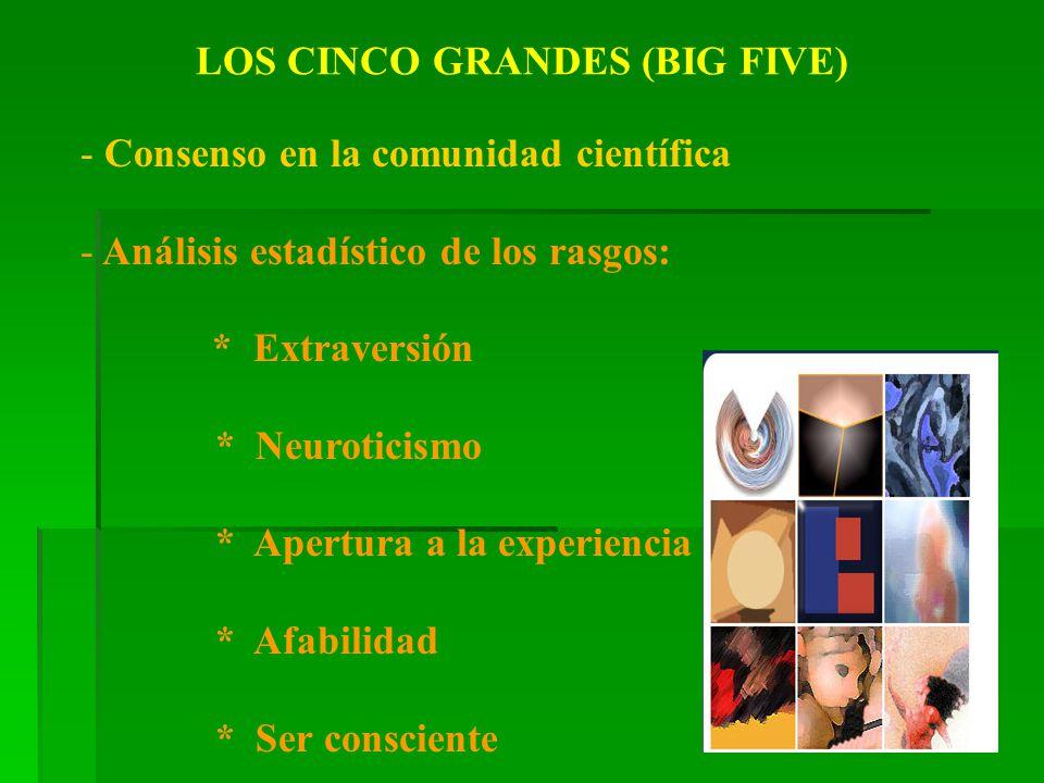 LOS CINCO GRANDES (BIG FIVE) - Consenso en la comunidad científica - Análisis estadístico de los rasgos: * Extraversión * Neuroticismo * Apertura a la