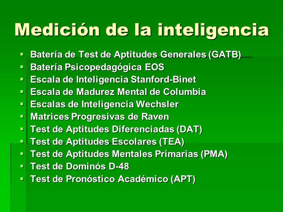 Medición de la inteligencia Batería de Test de Aptitudes Generales (GATB) Batería de Test de Aptitudes Generales (GATB) Batería Psicopedagógica EOS Ba