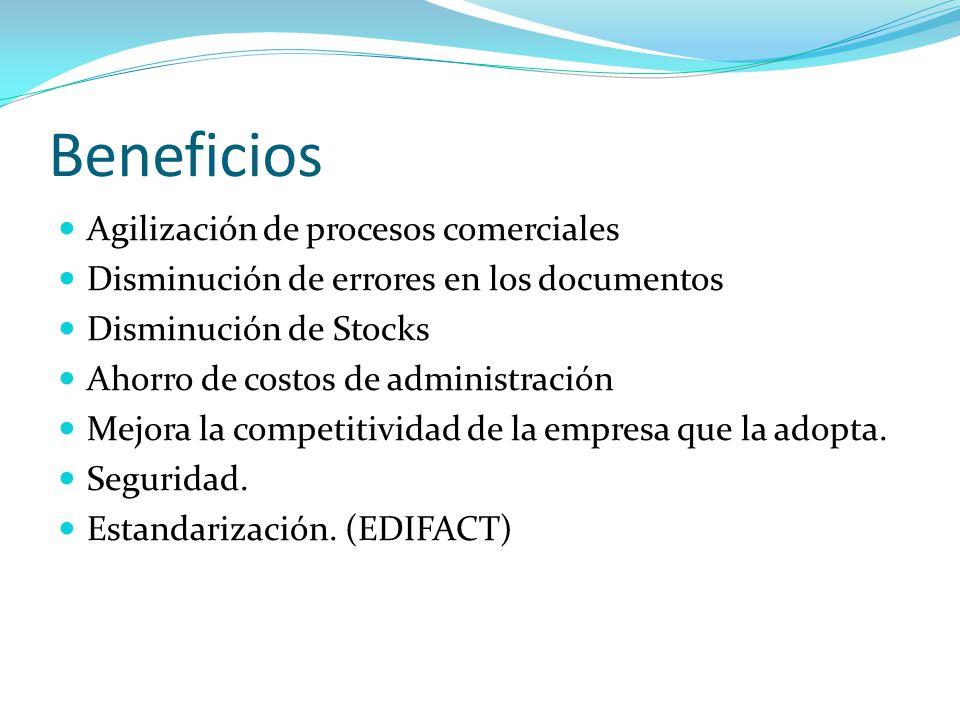 Beneficios Agilización de procesos comerciales Disminución de errores en los documentos Disminución de Stocks Ahorro de costos de administración Mejor