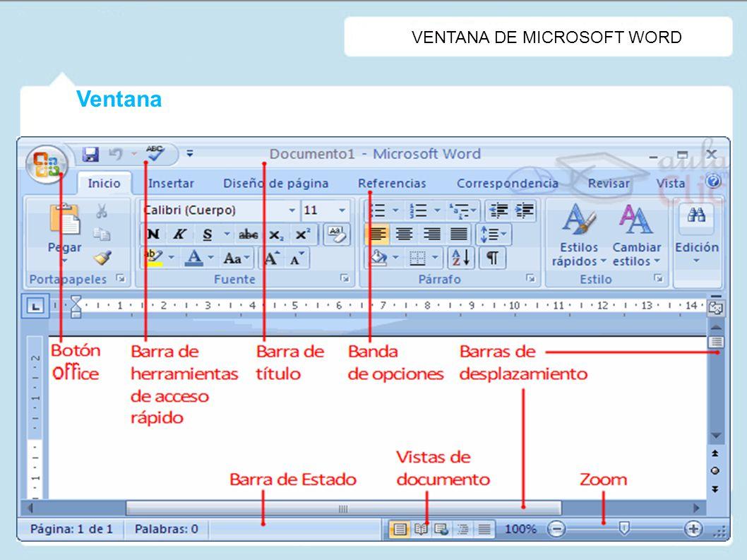 Ventana Versión: Microsoft Word 2007 VENTANA DE MICROSOFT WORD