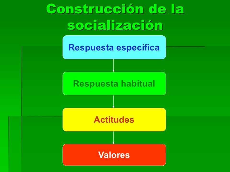 Construcción de la socialización Respuesta específica Respuesta habitual Actitudes Valores