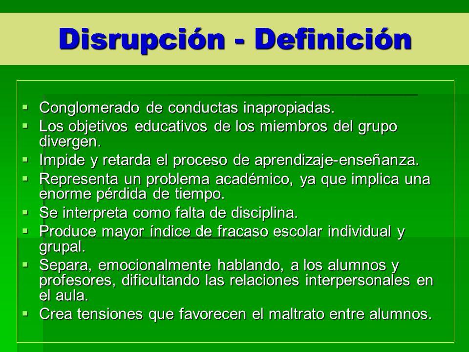 Disrupción - Definición Conglomerado de conductas inapropiadas. Conglomerado de conductas inapropiadas. Los objetivos educativos de los miembros del g