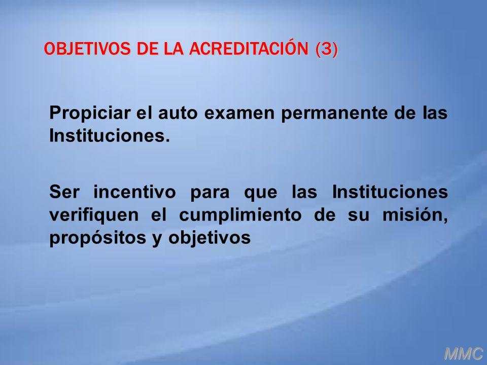OBJETIVOS DE LA ACREDITACIÓN (3) Propiciar el auto examen permanente de Ias Instituciones. Ser incentivo para que las Instituciones verifiquen el cump