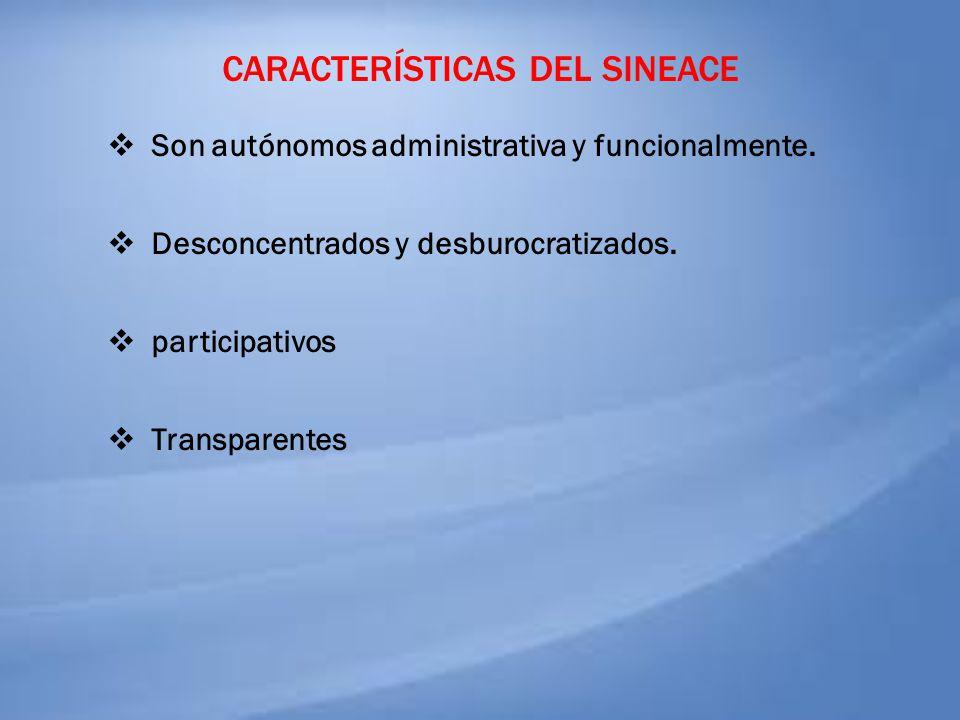 CARACTERÍSTICAS DEL SINEACE Son autónomos administrativa y funcionalmente. Desconcentrados y desburocratizados. participativos Transparentes