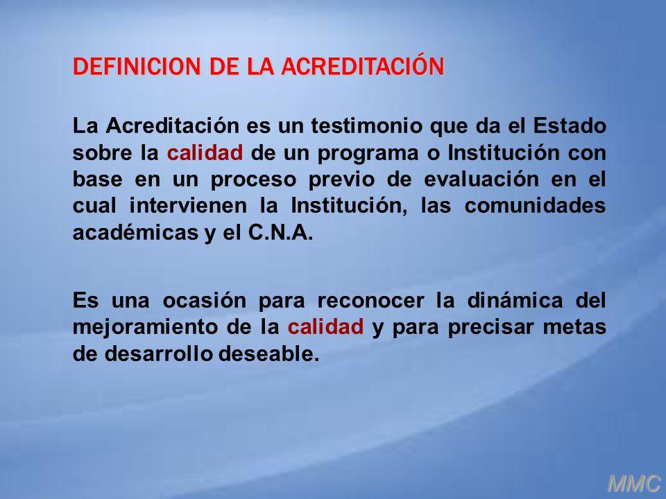 DEFINICION DE LA ACREDITACIÓN La Acreditación es un testimonio que da el Estado sobre la calidad de un programa o Institución con base en un proceso p