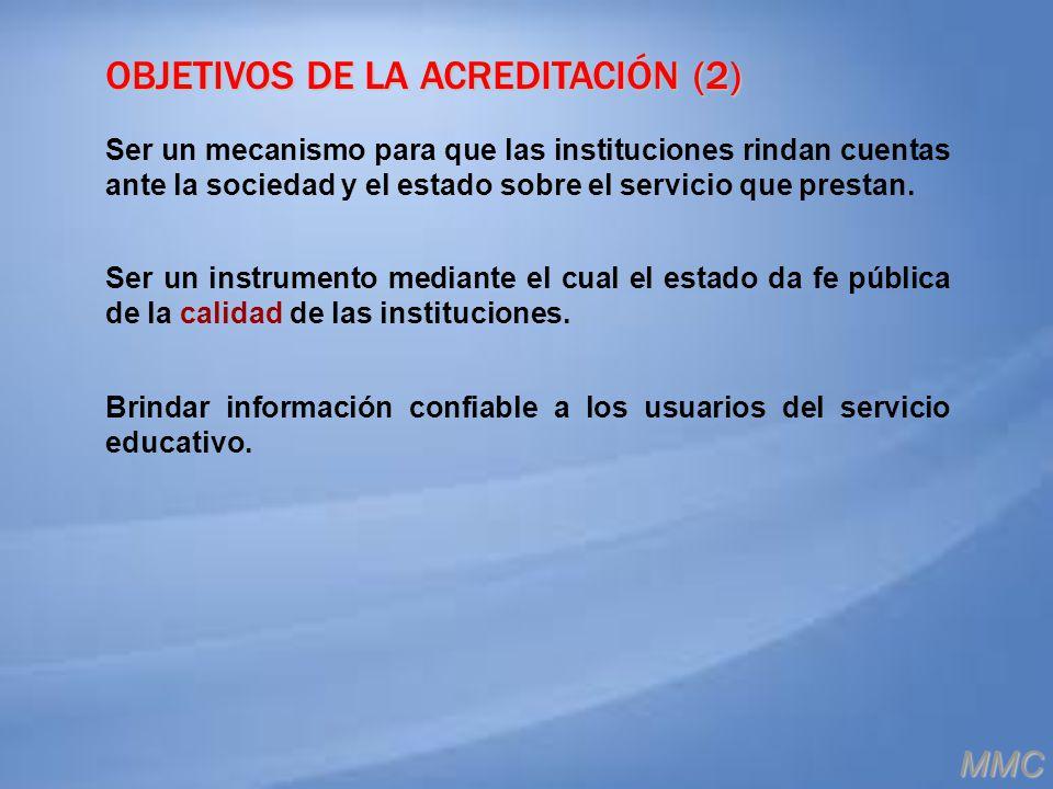 OBJETIVOS DE LA ACREDITACIÓN (2) Ser un mecanismo para que las instituciones rindan cuentas ante la sociedad y el estado sobre el servicio que prestan