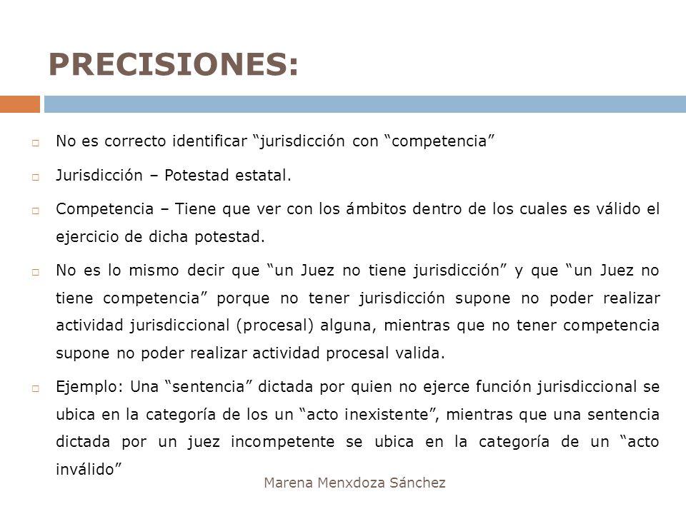 PRECISIONES: Marena Menxdoza Sánchez No es correcto identificar jurisdicción con competencia Jurisdicción – Potestad estatal. Competencia – Tiene que