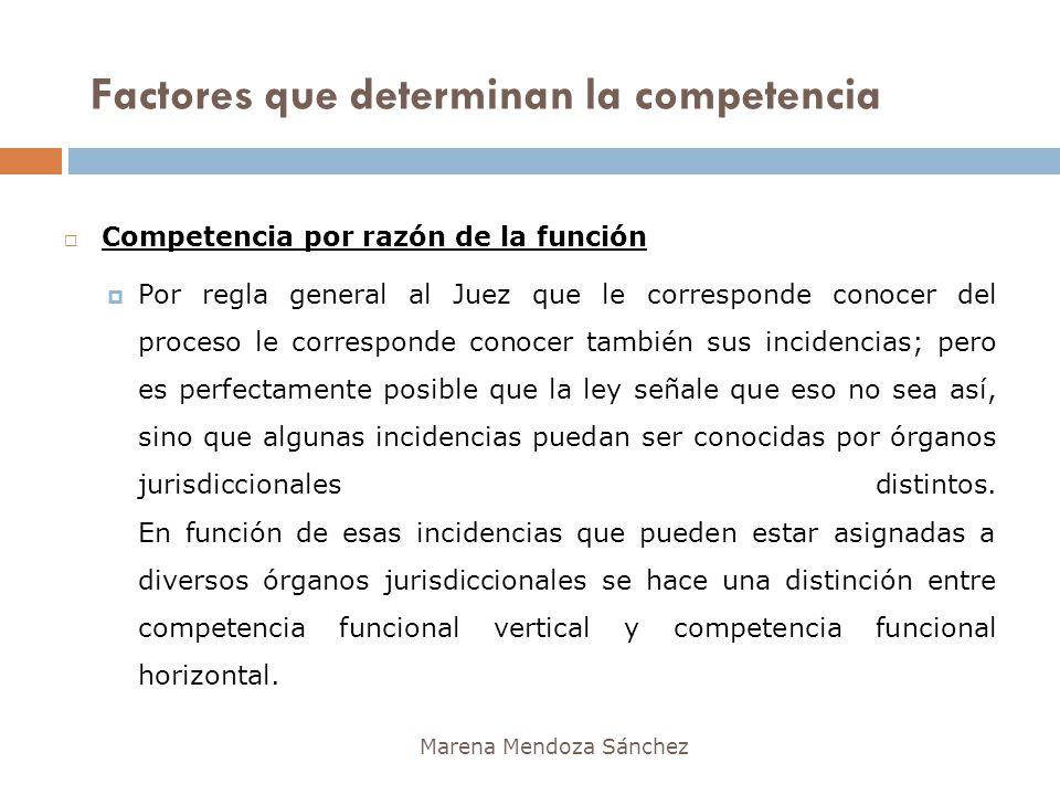 Marena Mendoza Sánchez Competencia por razón de la función Por regla general al Juez que le corresponde conocer del proceso le corresponde conocer tam