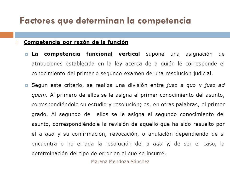 Marena Mendoza Sánchez Competencia por razón de la función La competencia funcional vertical supone una asignación de atribuciones establecida en la l