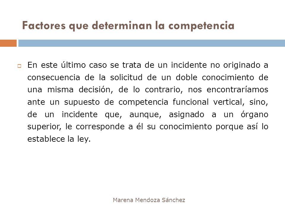 Factores que determinan la competencia Marena Mendoza Sánchez En este último caso se trata de un incidente no originado a consecuencia de la solicitud