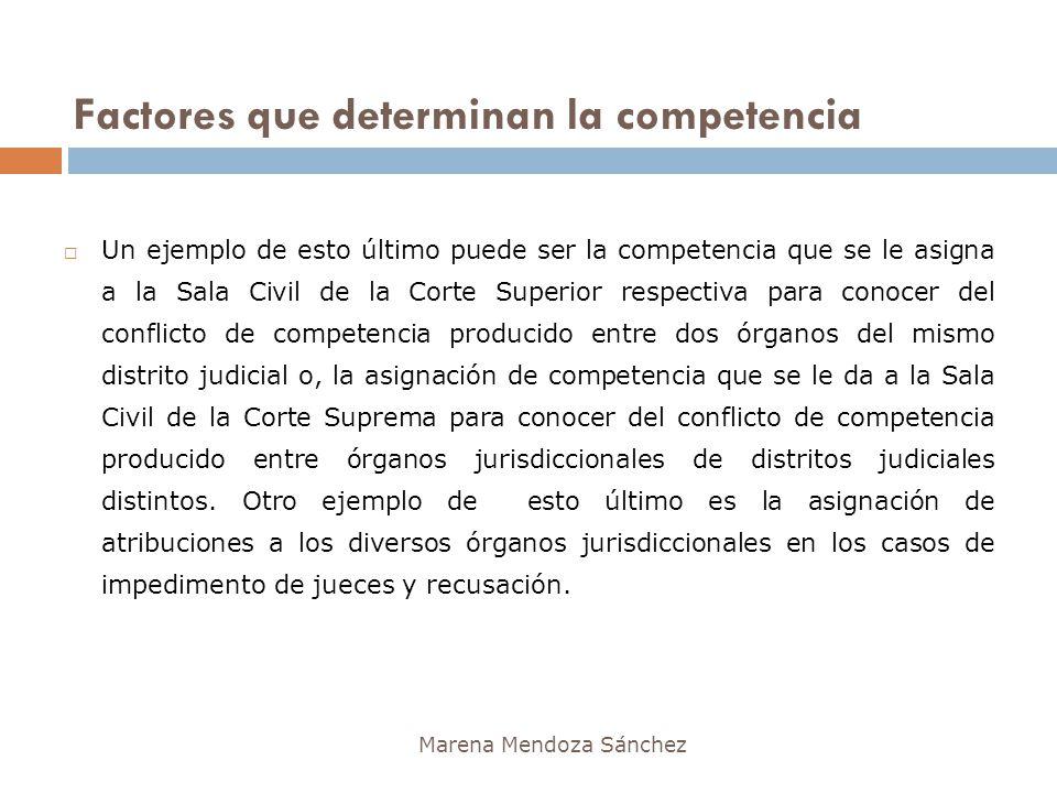 Factores que determinan la competencia Marena Mendoza Sánchez Un ejemplo de esto último puede ser la competencia que se le asigna a la Sala Civil de l