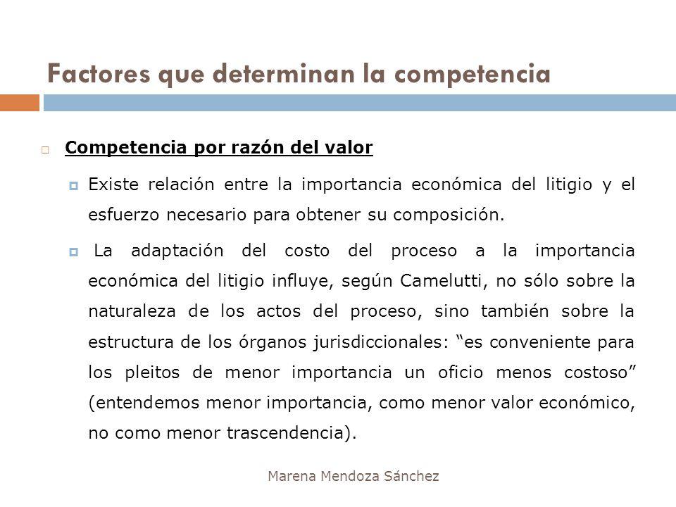Factores que determinan la competencia Marena Mendoza Sánchez Competencia por razón del valor Existe relación entre la importancia económica del litig