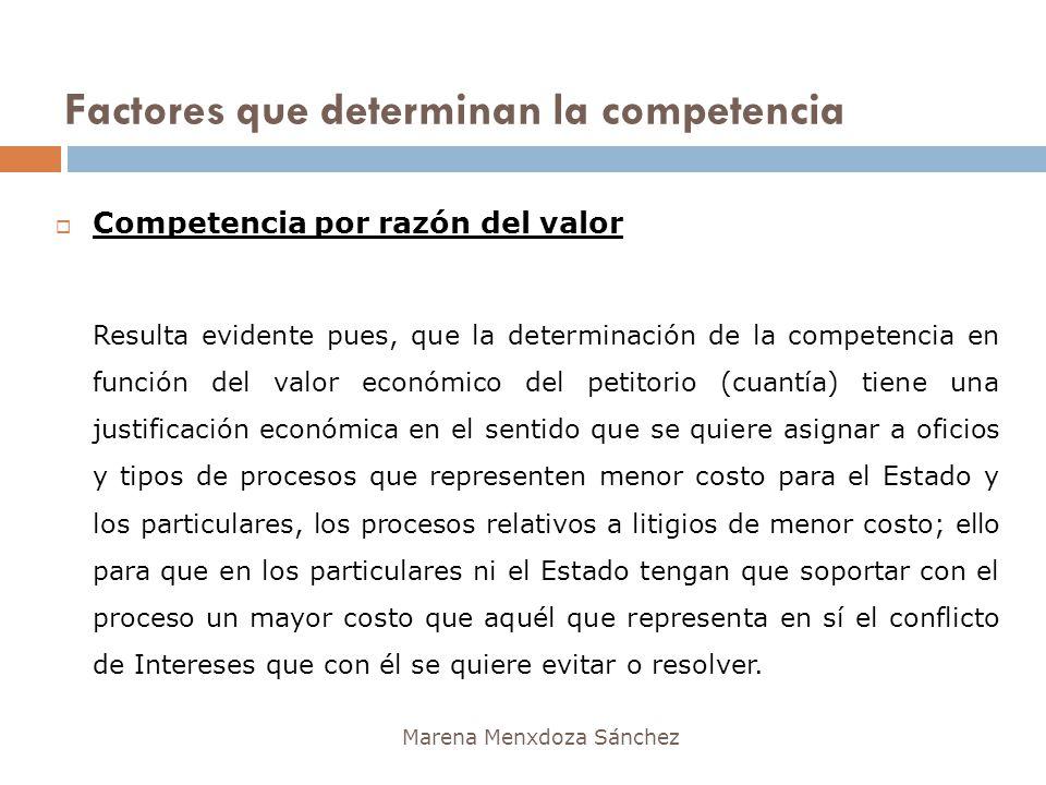 Factores que determinan la competencia Marena Menxdoza Sánchez Competencia por razón del valor Resulta evidente pues, que la determinación de la compe
