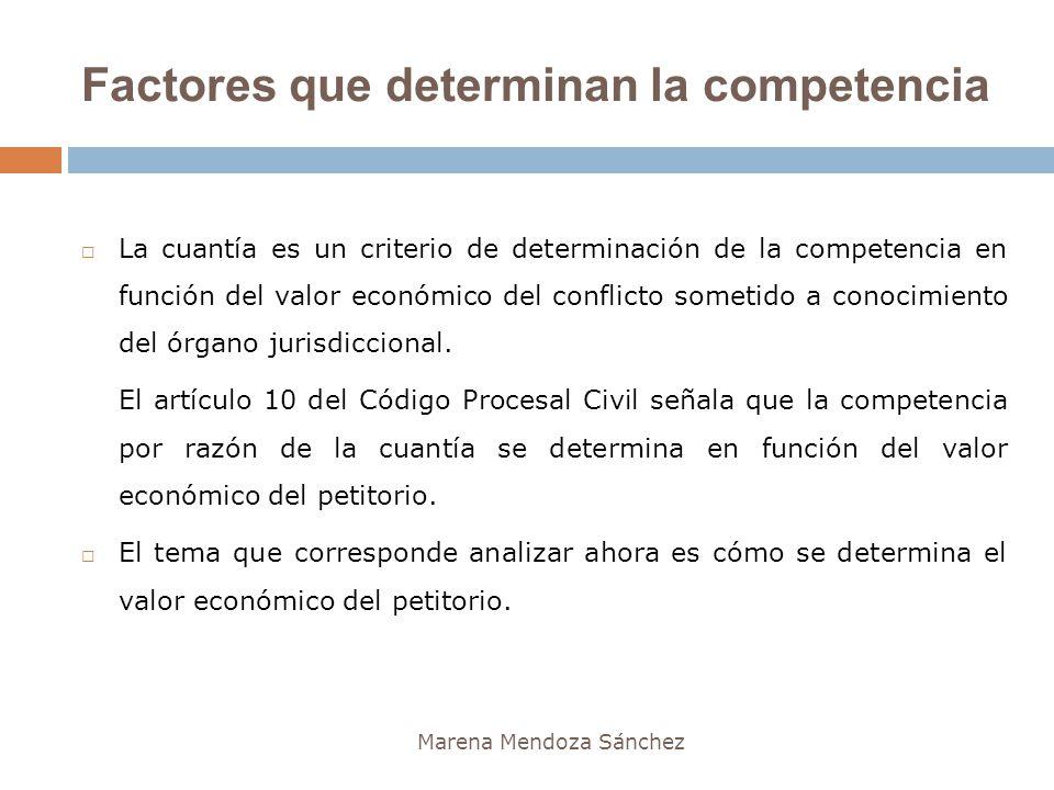 Factores que determinan la competencia Marena Mendoza Sánchez La cuantía es un criterio de determinación de la competencia en función del valor económ