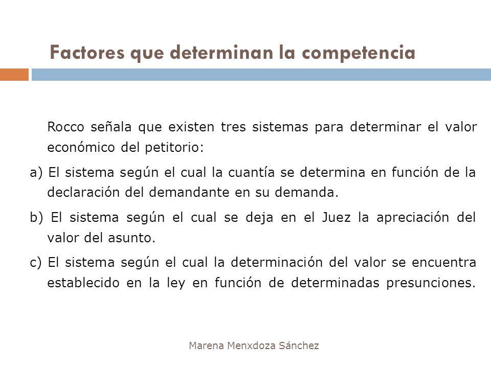 Factores que determinan la competencia Marena Menxdoza Sánchez Rocco señala que existen tres sistemas para determinar el valor económico del petitorio