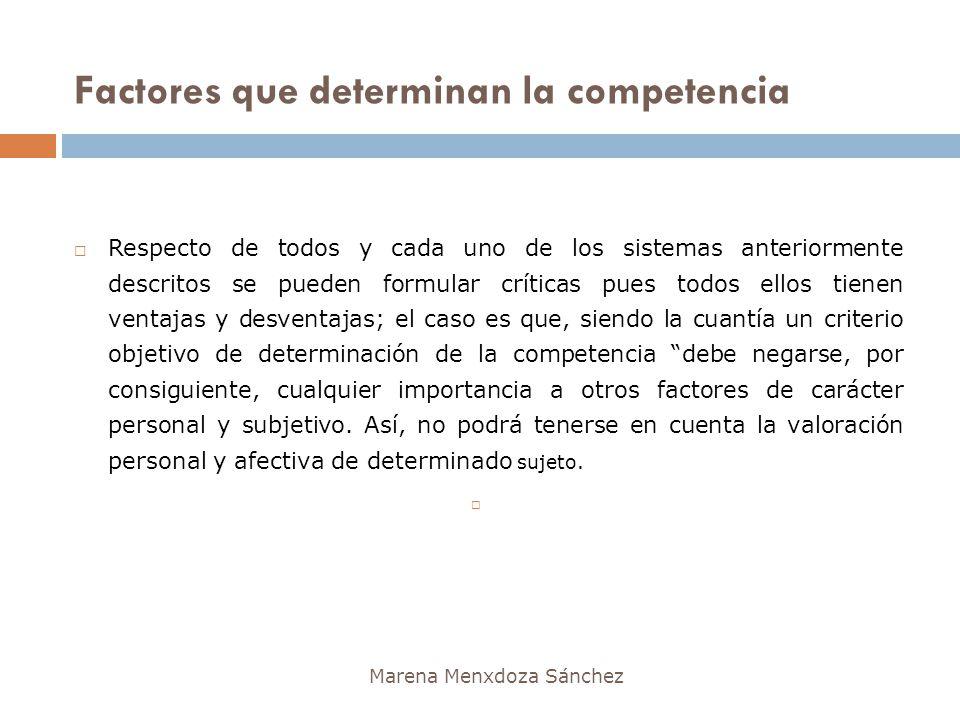 Factores que determinan la competencia Marena Menxdoza Sánchez Respecto de todos y cada uno de los sistemas anteriormente descritos se pueden formular