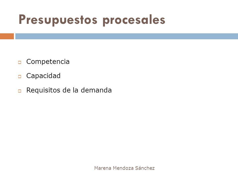 Presupuestos procesales Marena Mendoza Sánchez Competencia Capacidad Requisitos de la demanda