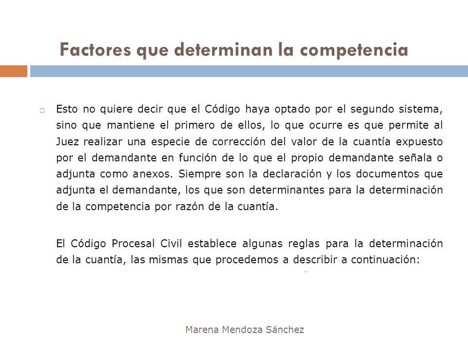Factores que determinan la competencia Marena Mendoza Sánchez Esto no quiere decir que el Código haya optado por el segundo sistema, sino que mantiene