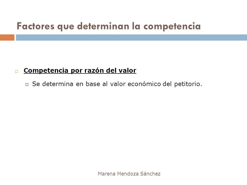 Factores que determinan la competencia Marena Mendoza Sánchez Competencia por razón del valor Se determina en base al valor económico del petitorio.