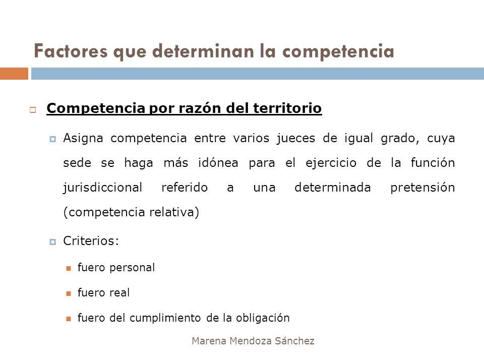Factores que determinan la competencia Marena Mendoza Sánchez Competencia por razón del territorio Asigna competencia entre varios jueces de igual gra