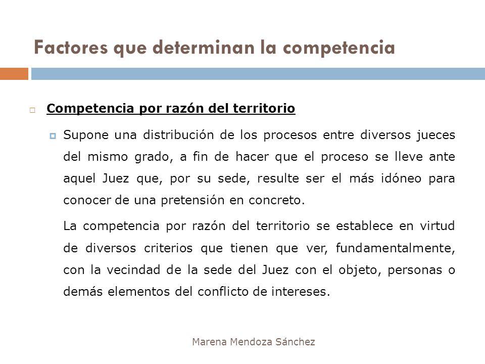 Factores que determinan la competencia Marena Mendoza Sánchez Competencia por razón del territorio Supone una distribución de los procesos entre diver
