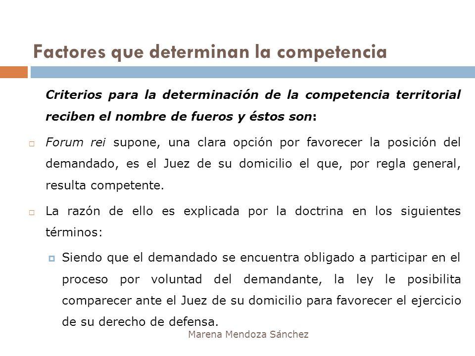 Factores que determinan la competencia Marena Mendoza Sánchez Criterios para la determinación de la competencia territorial reciben el nombre de fuero