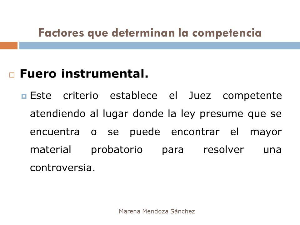 Marena Mendoza Sánchez Fuero instrumental. Este criterio establece el Juez competente atendiendo al lugar donde la ley presume que se encuentra o se p