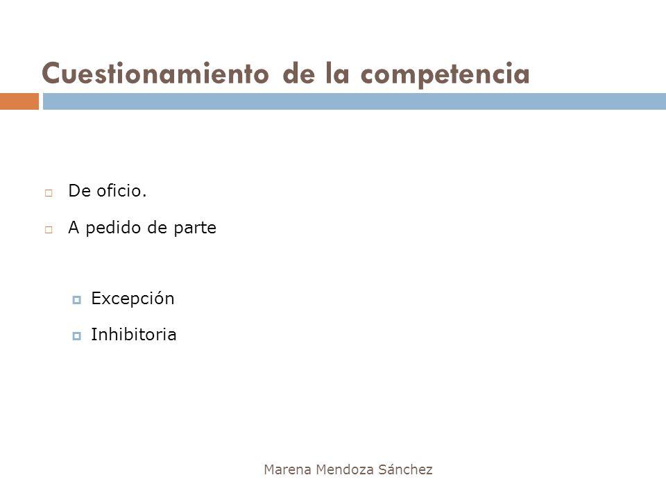 Cuestionamiento de la competencia Marena Mendoza Sánchez De oficio. A pedido de parte Excepción Inhibitoria