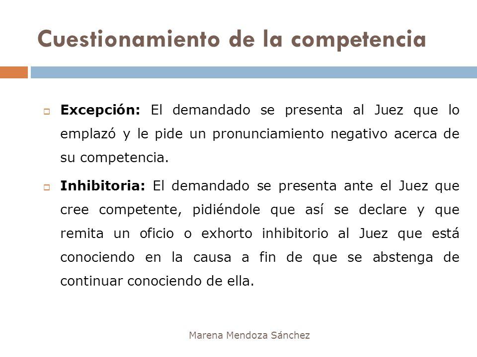 Cuestionamiento de la competencia Marena Mendoza Sánchez Excepción: El demandado se presenta al Juez que lo emplazó y le pide un pronunciamiento negat