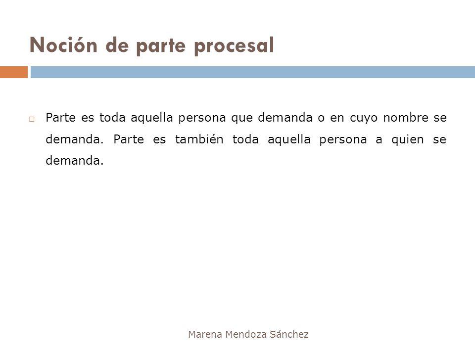 Noción de parte procesal Marena Mendoza Sánchez Parte es toda aquella persona que demanda o en cuyo nombre se demanda. Parte es también toda aquella p