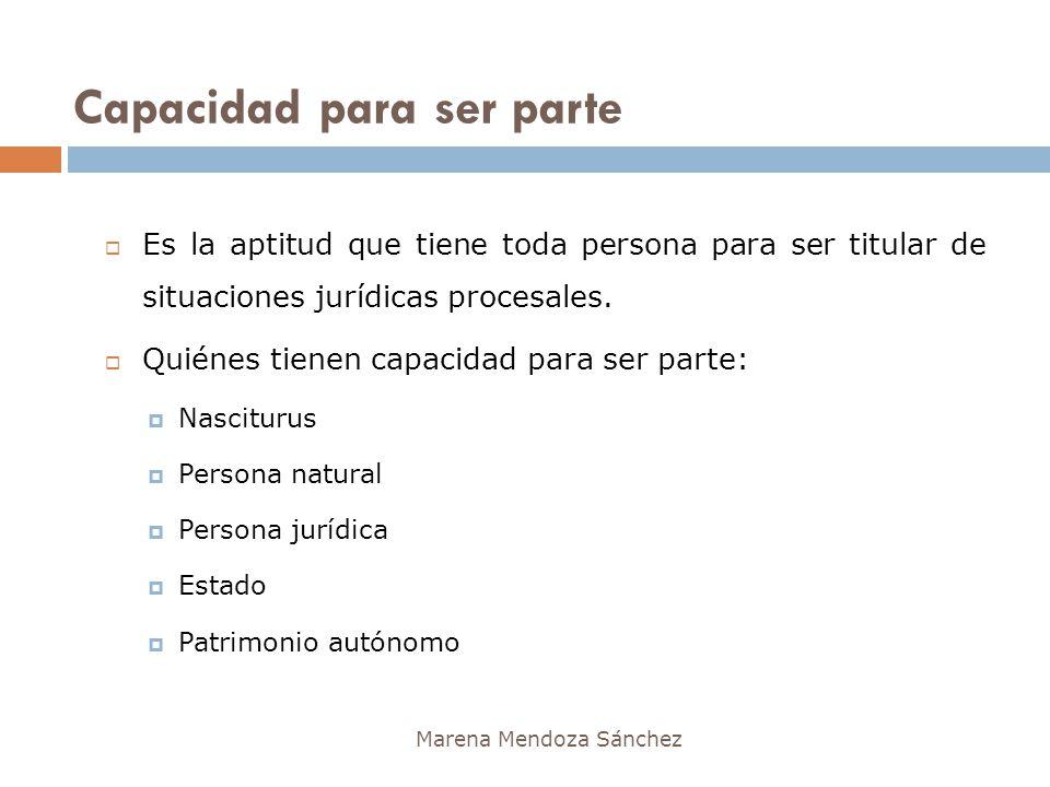Capacidad para ser parte Marena Mendoza Sánchez Es la aptitud que tiene toda persona para ser titular de situaciones jurídicas procesales. Quiénes tie