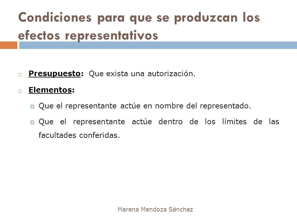 Condiciones para que se produzcan los efectos representativos Marena Mendoza Sánchez Presupuesto: Que exista una autorización. Elementos: Que el repre