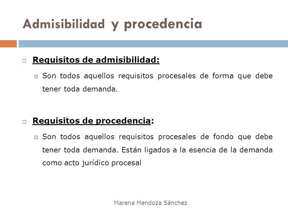 Admisibilidad y procedencia Marena Mendoza Sánchez Requisitos de admisibilidad: Son todos aquellos requisitos procesales de forma que debe tener toda