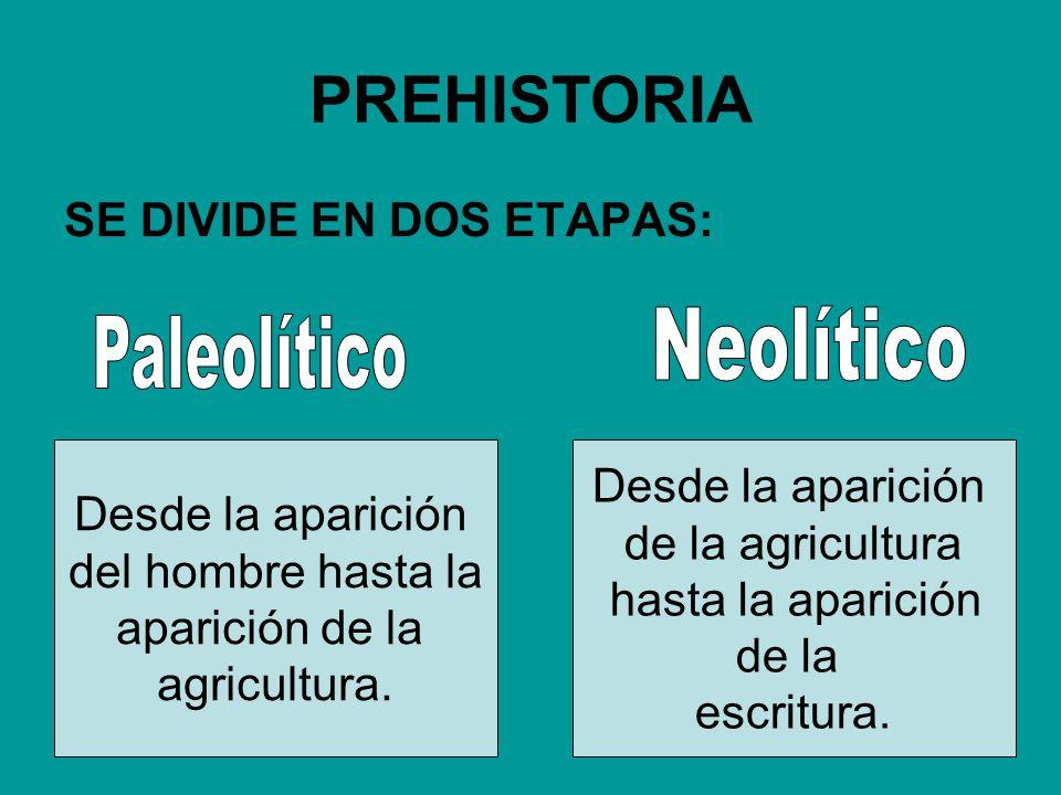 PREHISTORIA SE DIVIDE EN DOS ETAPAS: Desde la aparición del hombre hasta la aparición de la agricultura. Desde la aparición de la agricultura hasta la