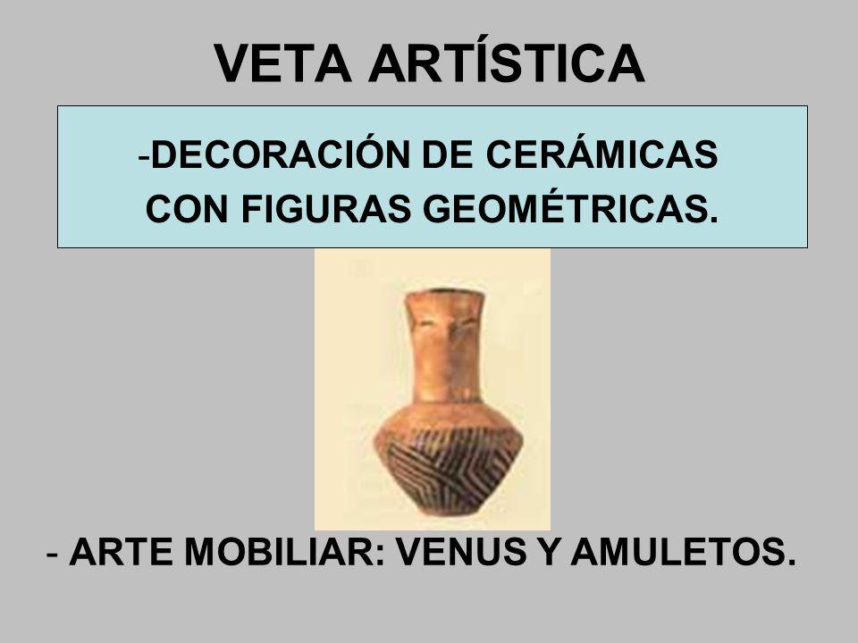 VETA ARTÍSTICA - ARTE MOBILIAR: VENUS Y AMULETOS. -DECORACIÓN DE CERÁMICAS CON FIGURAS GEOMÉTRICAS.