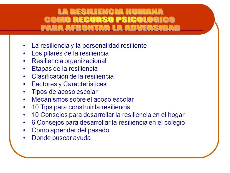 La resiliencia y la personalidad resiliente Los pilares de la resiliencia Resiliencia organizacional Etapas de la resiliencia Clasificación de la resi