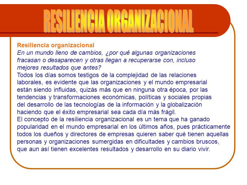 El enfoque de la resiliencia organizacional parte de la premisa que las organizaciones en el mundo son parte activa de entorno cada vez más cambiante, regido por inestabilidad política, económica, social y medioambiental.