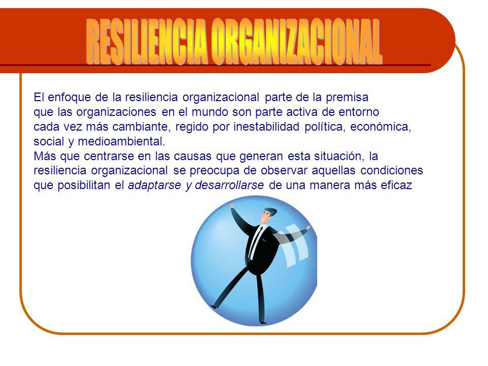El enfoque de la resiliencia organizacional parte de la premisa que las organizaciones en el mundo son parte activa de entorno cada vez más cambiante,
